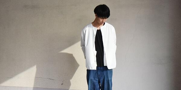 さらっと羽織るのに丁度良いKELENのノーカラーシャツ-8TH SLEEVE N/C STITCH SHIRT-