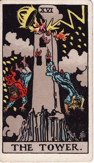 Burning Tower Tarot with Crown and people falling
