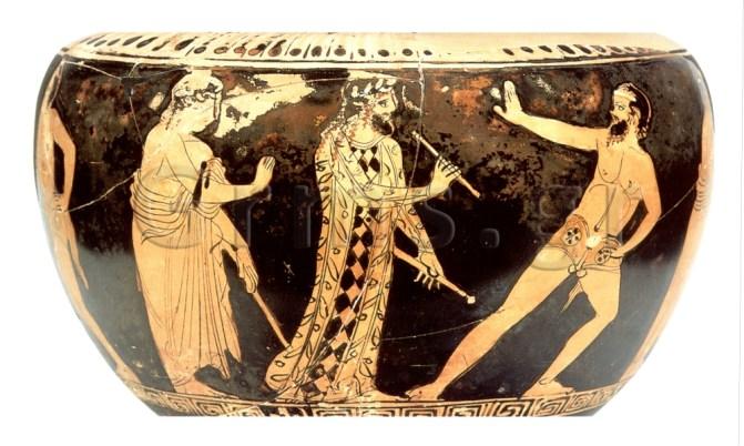 Εικ. 4. Αθήνα, Εθνικό Αρχαιολογικό Μουσείο 13027, π. 430 πΧ. Σάτυρος: χορός και αυλητής.