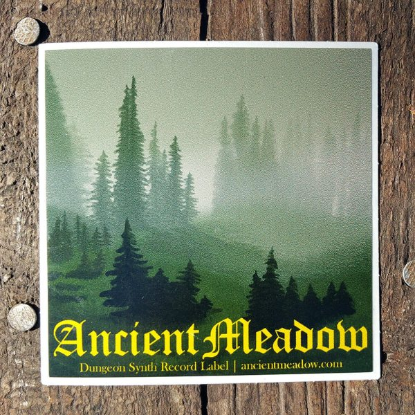Ancient Meadow Records Sticker Square 3 by 3, Dungeon Synth Record Label