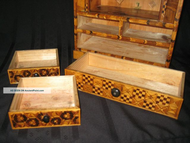 ... Japanese Inlaid Marquetry Wood Jewelry, Trinket, Or Letter Writing Box
