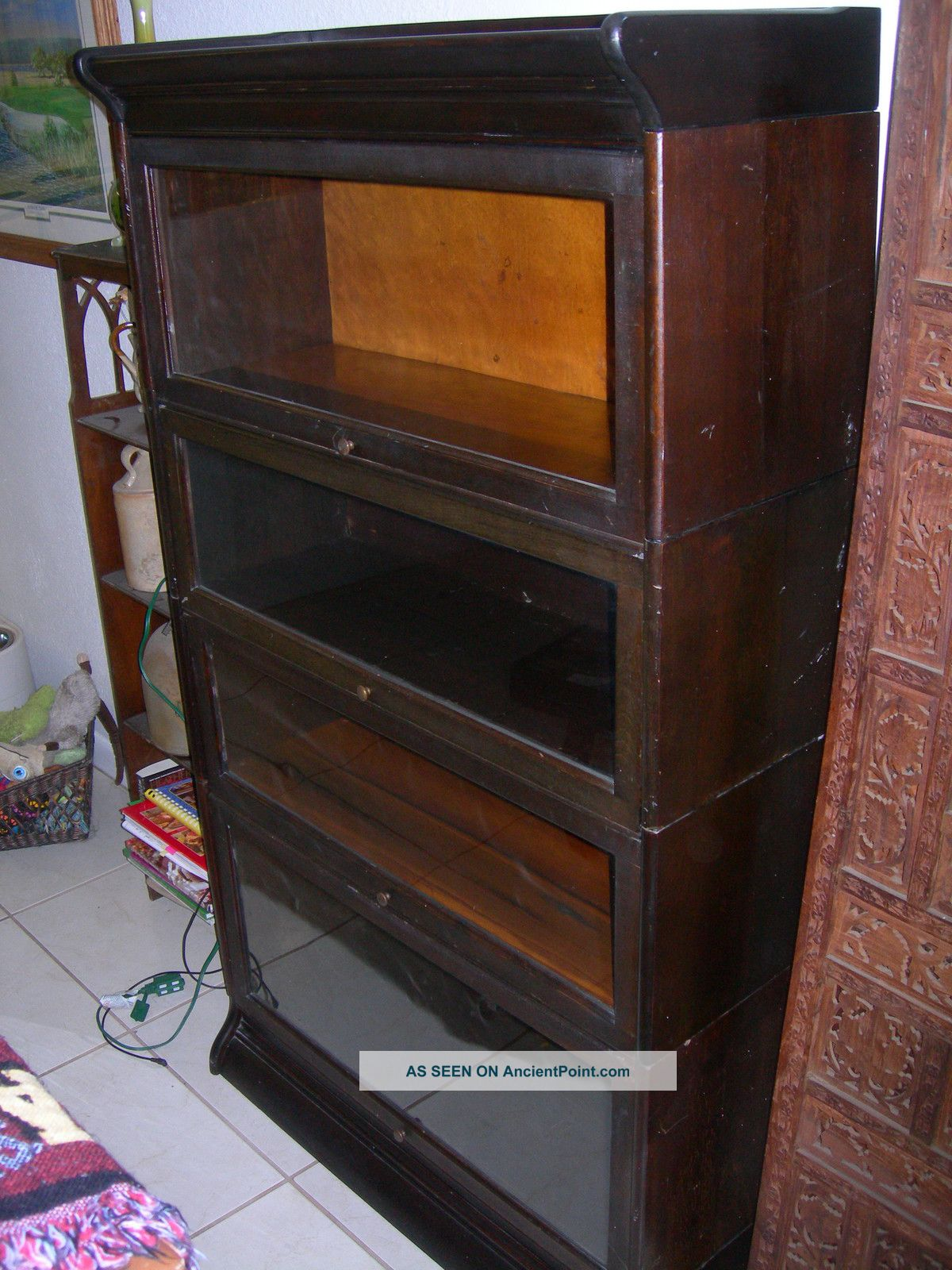 Antique Vintage Gunn Barrister Bookcase 4 Sectional W Top