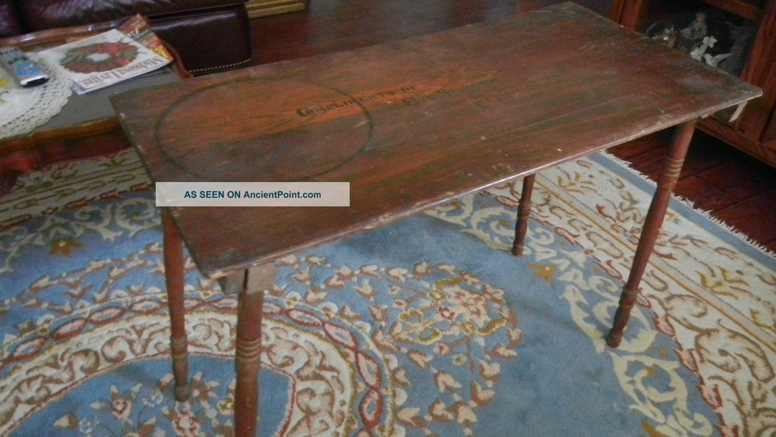Antique Folding Sewing Table With One Yard 36 In Ruler Still On Top Also Signed