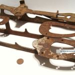 3 Antique Primitive Ice Skates Rusted Vintage Christmas
