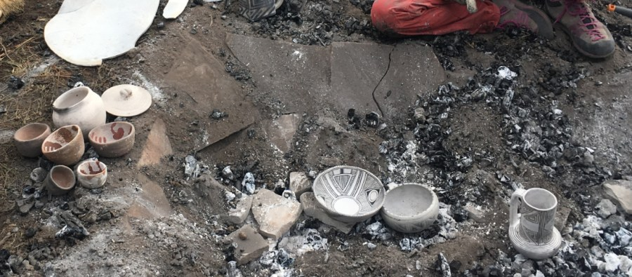 unearthing Anasazi replica pottery from the kiln