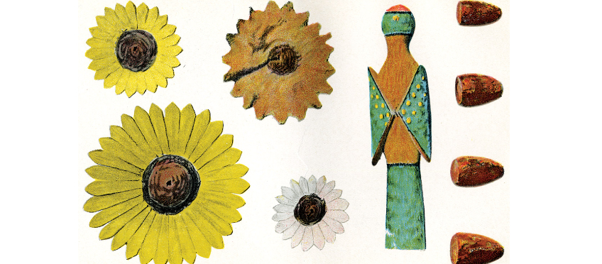 Anasazi carved and painted wooden flowers and bird