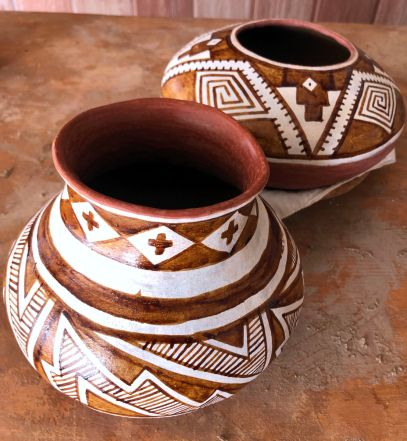 Gila Polychrome replica jars just painted