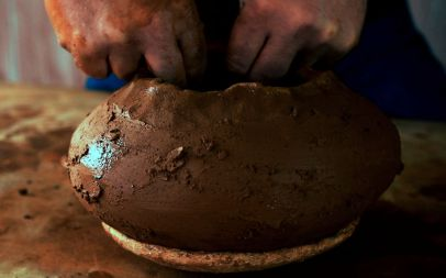 Replica seed jar being formed by hand