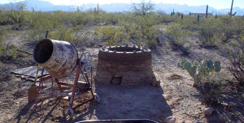 Building a primitive kiln from adobe mud