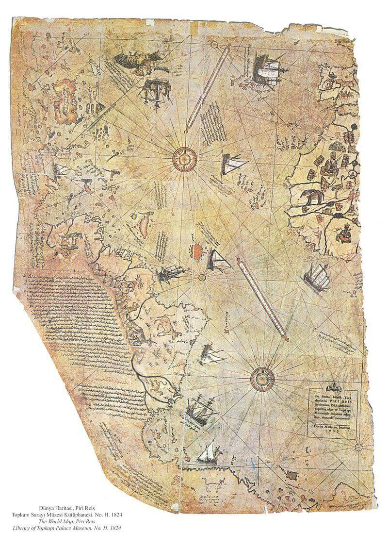 Fragment of the Piri Reis map. Wikimedia Commons