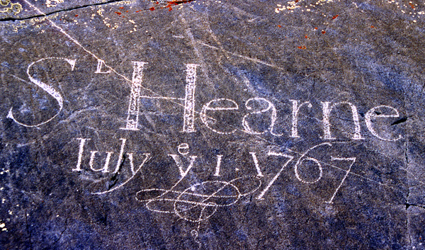 Samuel Hearne's signature is one of the pieces of historic graffiti at Sloop Cove, across the river from Churchill.