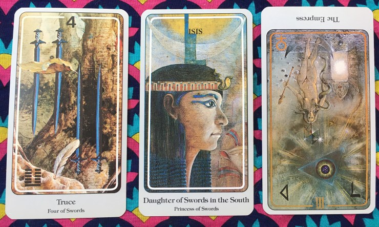 Four of Swords, Daughter of Swords, and The Empress (reversed)