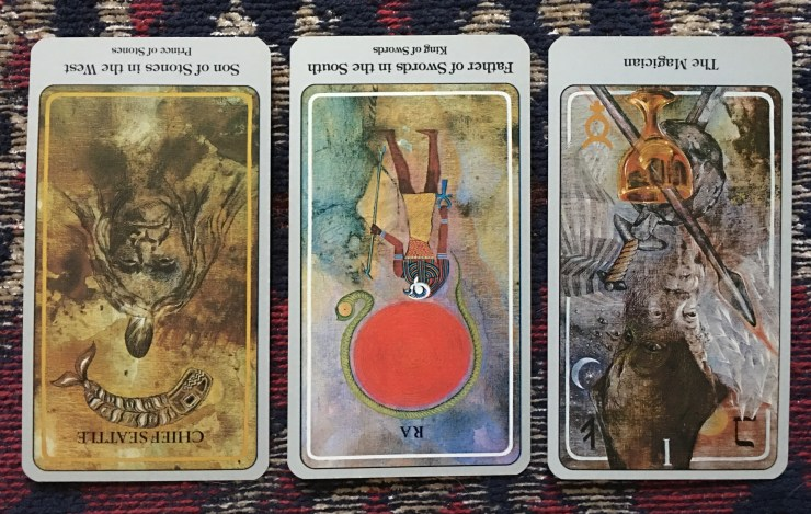 Son of Stones (reversed), Father of Swords (reversed), The Magician (reversed)