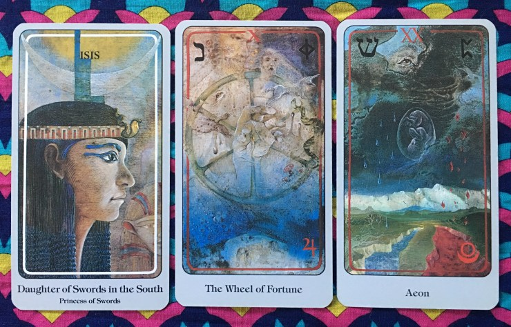 Daughter of Swords, The Wheel of Fortune, and Aeon