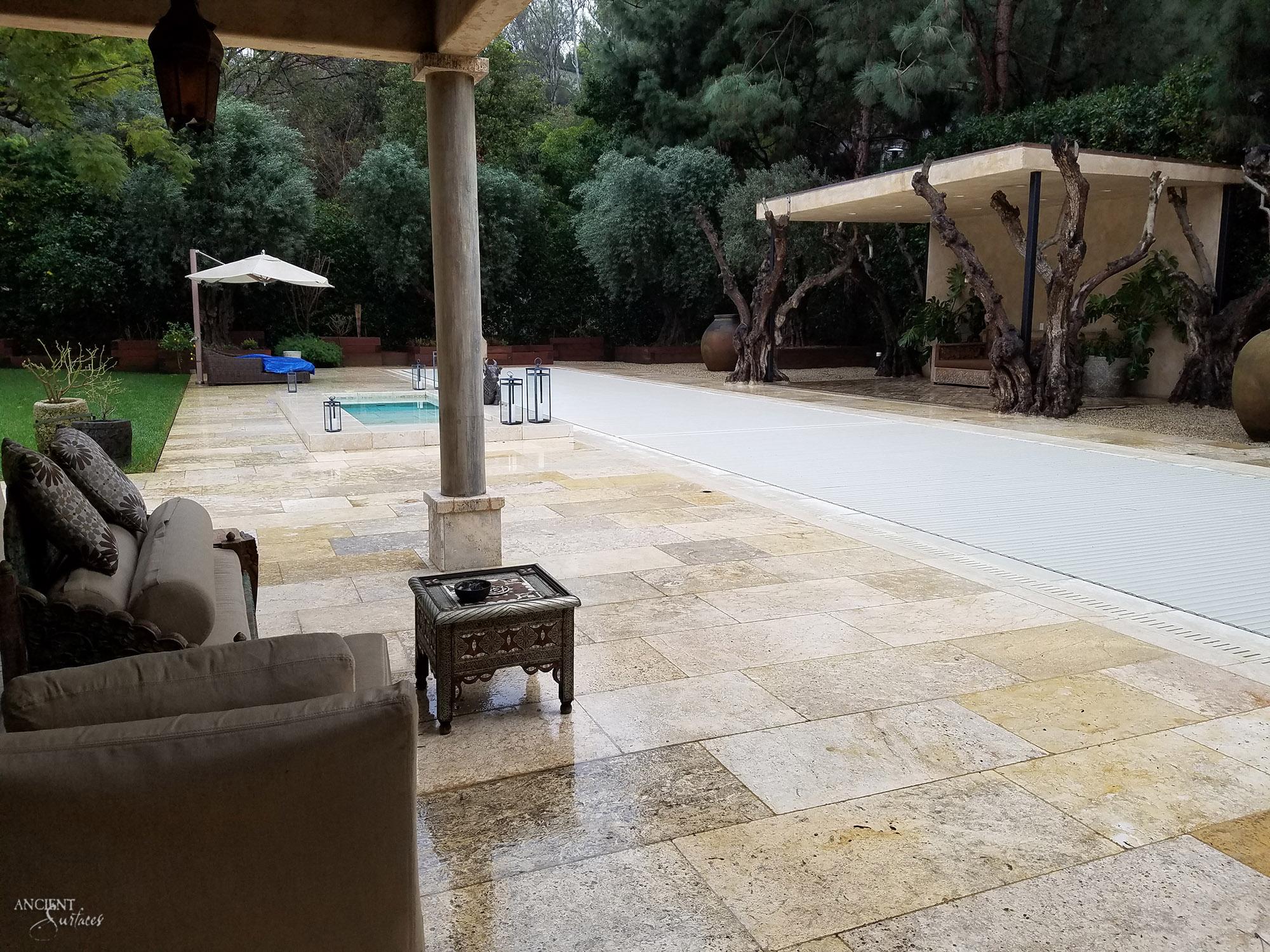 Provencal Farmhouse Outdoor Seating Area Limestone Flooring