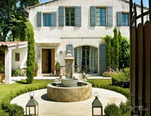 outdoor limestone pool fountain