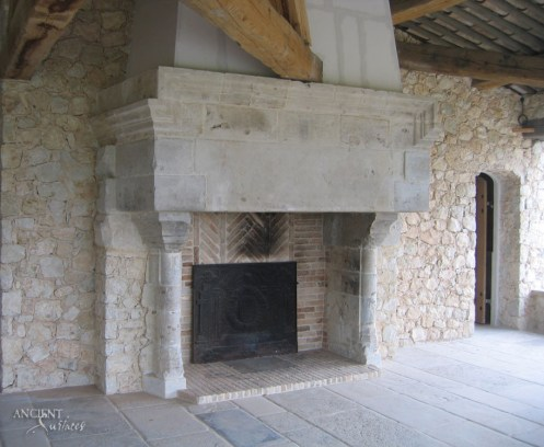 Majestic-old-antique-limestone-fireplace