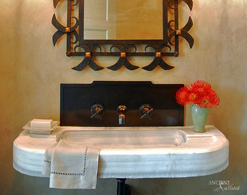 Antique Marble Trough Sink in Powder Room by Ancient Surfaces