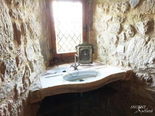 Antique Reclaimed Marble Sink in a Countryside Farmhouse Bathroom-2