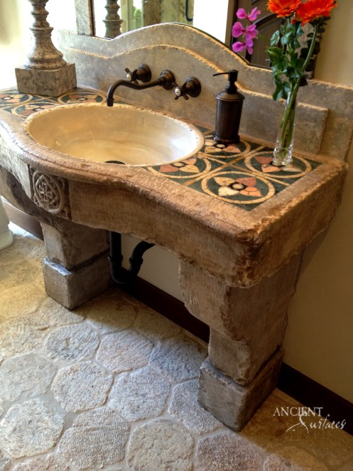Antique reclaimed Marble Sink in a French Provance Style Bathroom