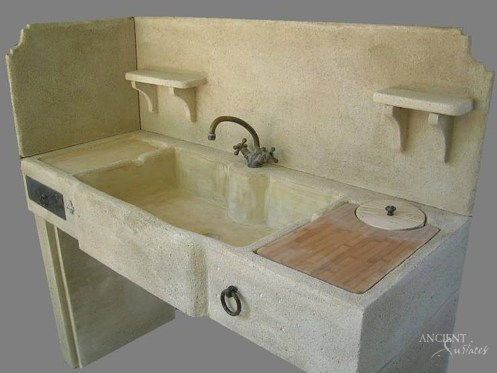 Limestone Trough Sink in Powder Room by Ancient Surfaces