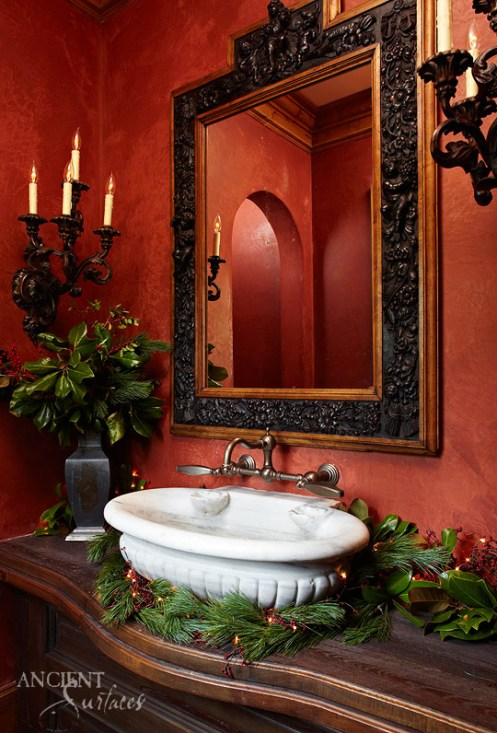 Shell Shaped Marble Sink in Powder Room by Ancient Surfaces-2