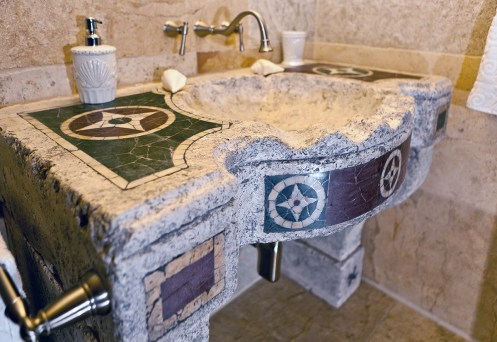 Antique Inlayed Limestone and Marble Sink by Ancient Surfaces