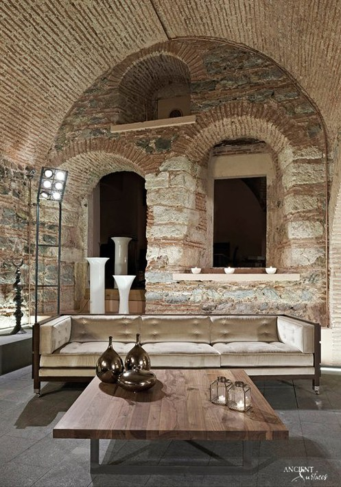antique-modern-design-living-room-wooden-table-limestone-wall-cladding