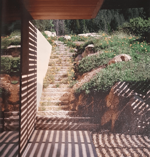 Outdoor limestone stone stairs in a provencal garden