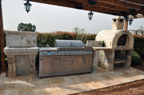 Antique Pizza oven and BBQ area with-limestone-flooring-floors-and-limestone-sink