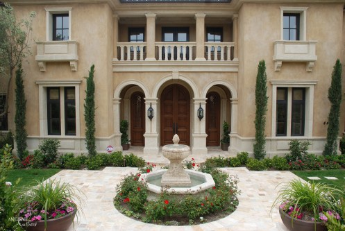french-villa-courtyard-with-limestone-flooring-and-antiue-limestone-pool-fountain-stone-columns