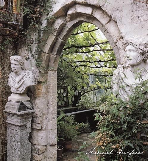 outdoor-garden-design-landscape-with-limestone-entryway-stone-status