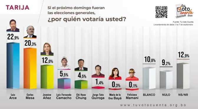 En Tarija: Nuevas encuestas colocan a Mesa como segundo y Añez como tercera