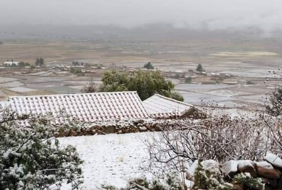 Reportaron nevada en el Valle Central, en zona alta de Tarija