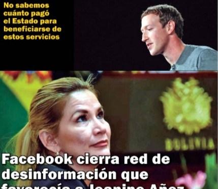 Facebook cierra red de desinformación que favorecía a Jeanine Añez