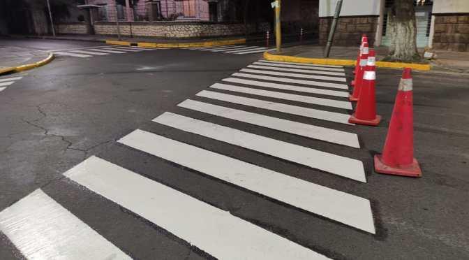 Pintan señalización horizontal en ciclovías en la ciudad de Tarija