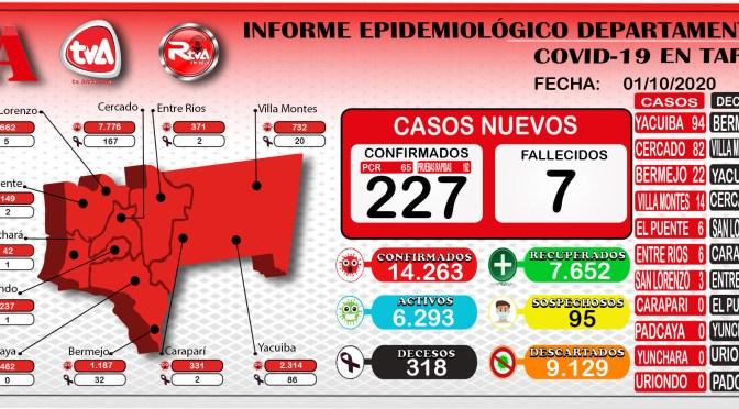 Tarija reporto 227 nuevos casos positivos y la cifra acumulada es 14.263 contagios