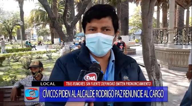 Cívicos se suman al pedido de renuncia de Rodrigo Paz como alcalde