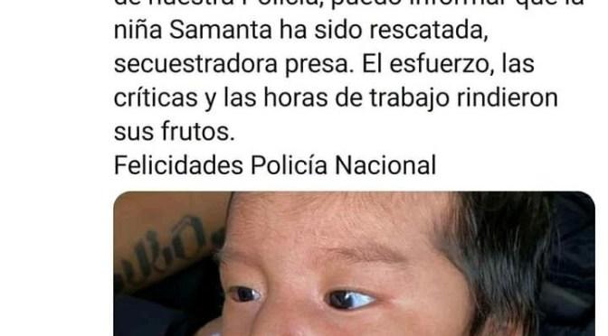 Urgente: Bebé Samanta fue rescatada por la Policía