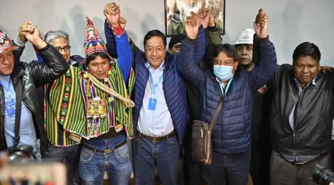 Luis Arce agracede por apoyo para el triunfo electoral, dice que buscará la unidad