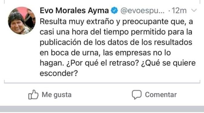 Evo Morales reclama por falta de datos en boca de urna