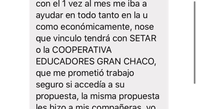 UAJMS Chaco investiga denuncia de acoso sexual de un docente a una estudiante