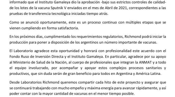 Laboratorio argentino confirma inicio de producción masiva de la vacuna Sputnik en los próximos días
