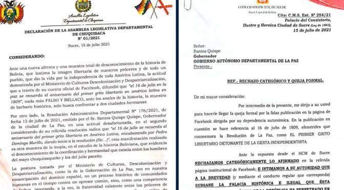 Autoridades de Chuquisaca salen en defensa del 25 de Mayo como Primer Grito Libertario