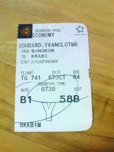 boarding pass to Krabi