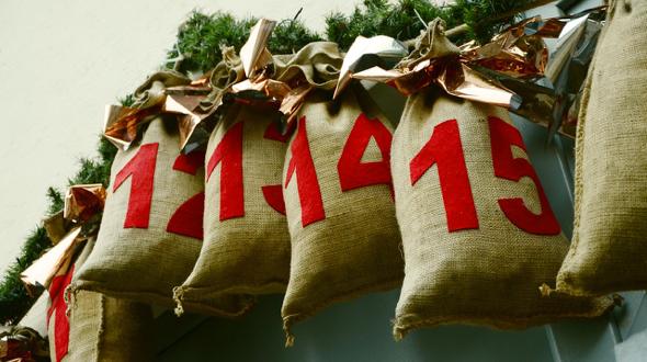 Bolsas con numeros, calendario de adviento