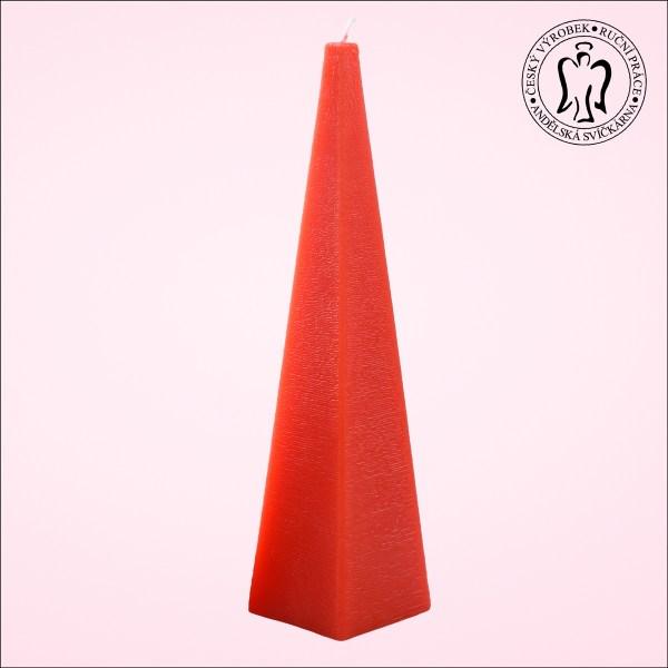 Červený jehlan, svíčky e-shop, Andělská svíčkárna, výrobce ,Red pyramid, candle, Angels candles M09
