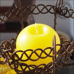 Žlutá svíčka, koule, krásné svíčky, svíčky kladno, svíčky výroba, Yellow candle, ball, ball candles 01