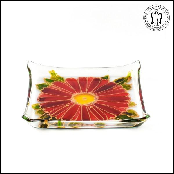 Skleněný svícen - Gerbera červená (svícínek, sklo)