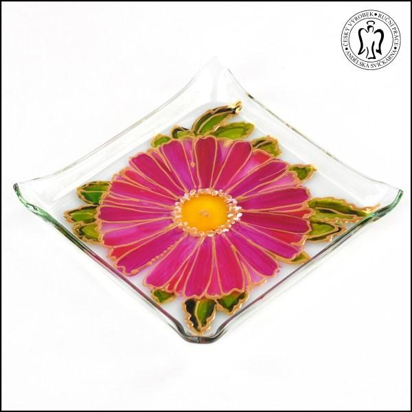 Skleněný svícen - Gerbera světle růžová (svícínek, sklo)